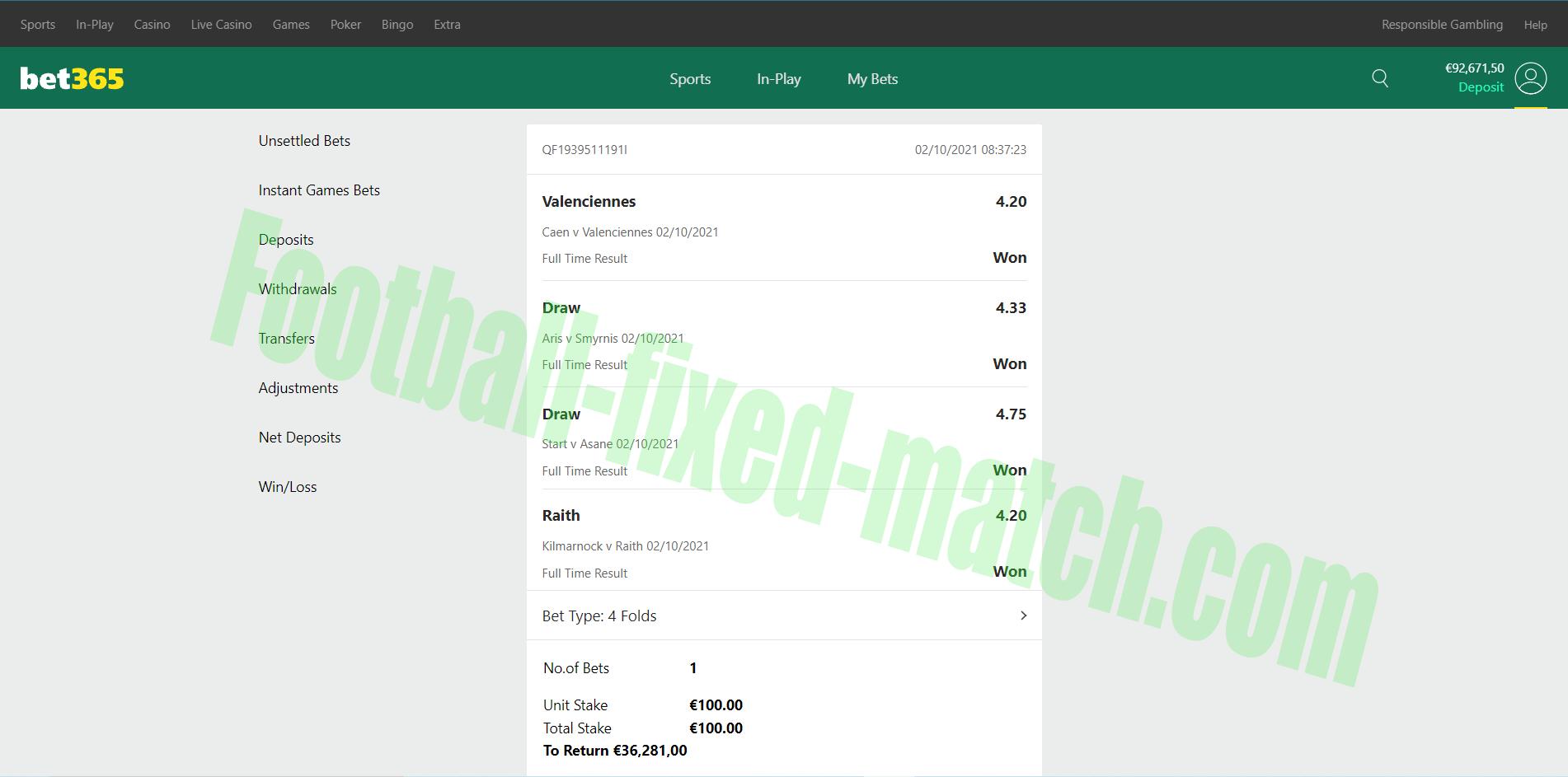 Bet 365 Fixed Matches