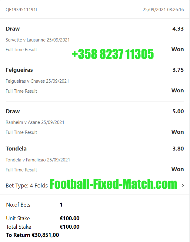 Today Vip Fixed Matches